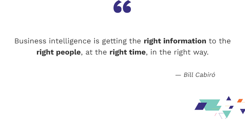 Business intelligence is getting the right info to the right people, at the right time, in the right way